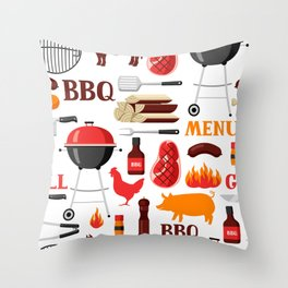 Grilling Season 4th Of July Texas BBQ Print Throw Pillow