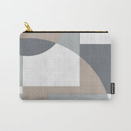 Geometric Intersecting Circles and Rectangles in Neutral Colors Carry-All Pouch