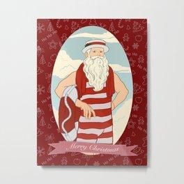 Santa Swimmer Metal Print