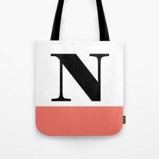 Monogram Letter N-Pantone-Peach Echo Tote Bag