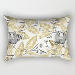 Happy Sloth – Tropical Gold Leaves Rectangular Pillow