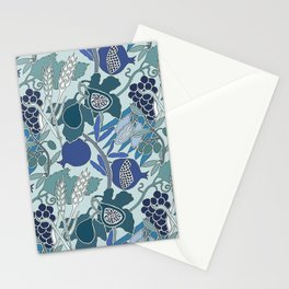 Seven Species Botanical Fruit and Grain in Blue Tones Stationery Cards