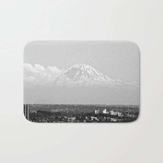 Hovering Mt Rainier in Mono Bath Mat