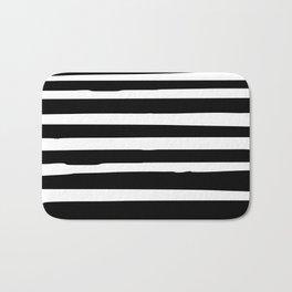 Black and White Stripes Abstract Modern Bath Mat