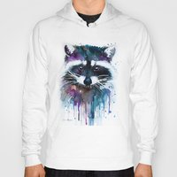 raccoon Hoodies featuring Raccoon by Slaveika Aladjova