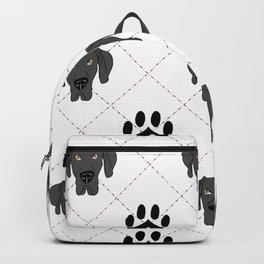 Black Great Dane Paw Print Pattern Backpack
