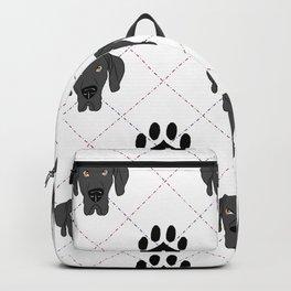 Black Great Dane Paw Print Pattern Backpack