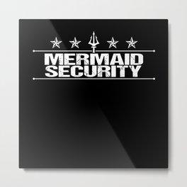 Mermaid Merman Security Swimming Shirt Metal Print