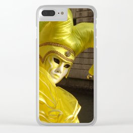 Bright yellow Mask Clear iPhone Case