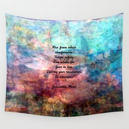 Challenging Fear Rumi Uplifting Quote With Beautiful Underwater Painting Wall Tapestry