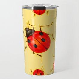CREAMY YELLOW ART  RED LADY BUGS  DESIGN Travel Mug