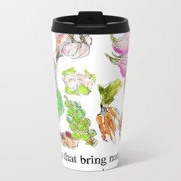 Fresh I: a watercolor of the bounty at Quebec City's farmers' market Metal Travel Mug