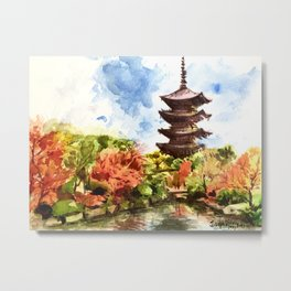 Kyoto Japanese Garden and Temple Metal Print