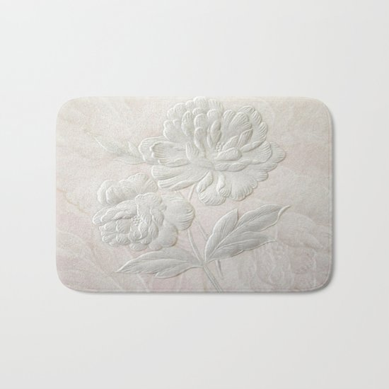 Embossed Painterly White Floral Abstract Bath Mat