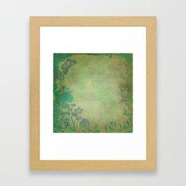 Grunge Garden Canvas Texture:  Green and Teal Butterfly Floral Framed Art Print