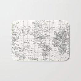 White World Map Bath Mat
