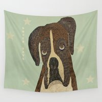 boxer Wall Tapestries featuring boxer days by bri.buckley