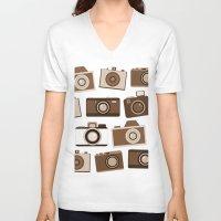 cameras V-neck T-shirts featuring cameras (black) by vitamin