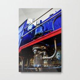 Engineer Cabin, Black Boiler And An Air Pump Of A Vintage Steam Engine Locomotive Metal Print