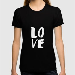 LOVE Wall Art Home Decor in Black-and-White Ink Modern Typography Poster Graphic-Design Minimalism T-shirt