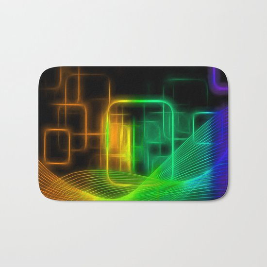 Abstract glowing lines Bath Mat