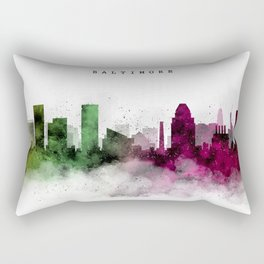 Baltimore Watercolor Skyline Rectangular Pillow