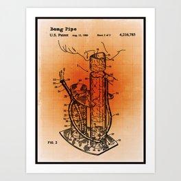 Bong Patent Blueprint Drawings Sepia Art Print