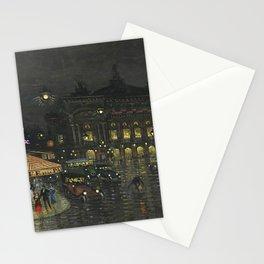 Paris Opera House & Café de la Paix nighttime cityscape painting by Konstantin Korovin Stationery Cards