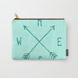 Find My Way \\ Teal Compass Art Carry-All Pouch