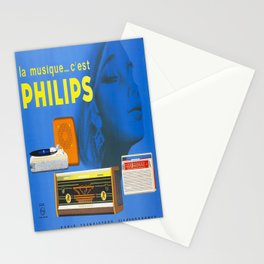 old placard la musique cest philips Stationery Cards