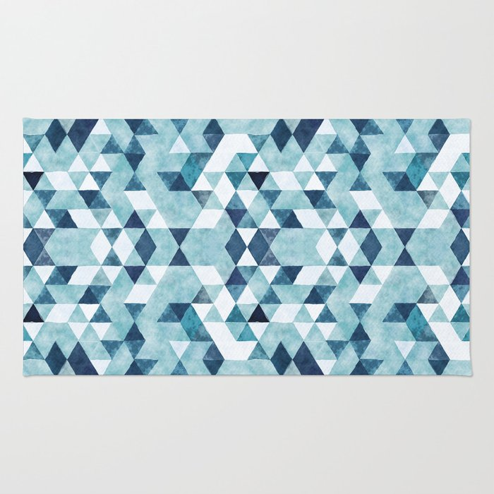 Indigo Blue Watercolor Triangles Pattern Rug