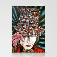 willy wonka Stationery Cards featuring Johnny Depp as Willy Wonka by Portraits on the Periphery