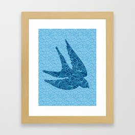 Swallows in Flight, Cobalt and Pale Blue Framed Art Print