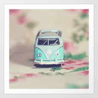volkswagon Art Prints featuring Aqua VW Bus with Roses by Anna Dykema Photography