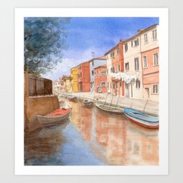Island of Burano Italy, watercolour Art Print