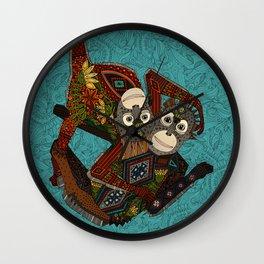 orangutans blue Wall Clock