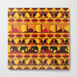 African Tribal Pattern No. 34 Metal Print