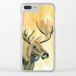 Moose Watercolor Clear iPhone Case