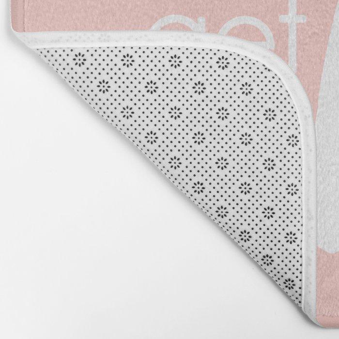 Bathroom Decor // get naked - white on light pink Bath Mat