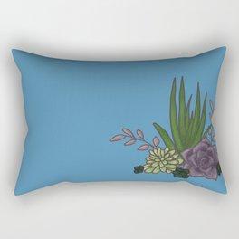 Succulents Blue Rectangular Pillow