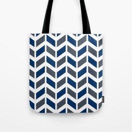 Dark blue, gray and white chevron pattern Tote Bag