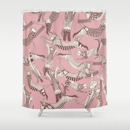 cat party pink Shower Curtain