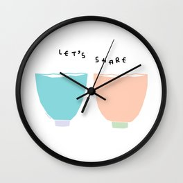 Kitchen Illustration - Let's Share Tea, Coffee, Soup and Love Wall Clock
