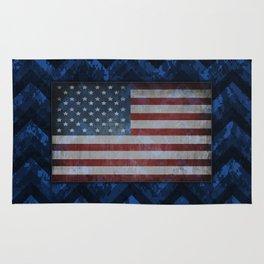 Cobalt Blue Digital Camo Chevrons with American Flag Rug