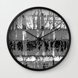Tropical Abstract Trees in Steely Gray Wall Clock