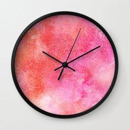 Abstract modern pink orange watercolor pattern Wall Clock