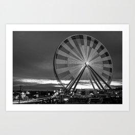 Branson Ferris Wheel at Dusk on the Strip - Monochrome Art Print