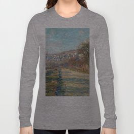 1880-Claude Monet-Road of La Roche-Guyon-60 x 73 Long Sleeve T-shirt