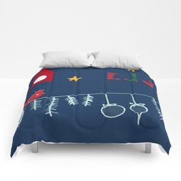 Holiday bird blue Comforters