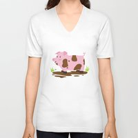 pig V-neck T-shirts featuring Pig by Claire Lordon